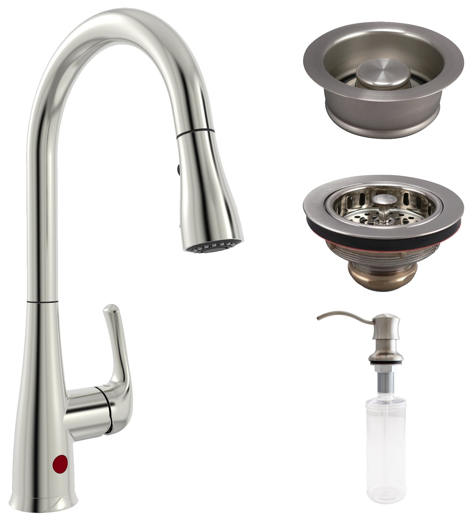 Plumb Pak KITNEX76BNGD Premium Kitchen Kit with Nexo Motion Activated Faucet, Garbage Disposal Stopper, Drop Post Sink Strainer, and Soap Dispenser, Brushed Nickel
