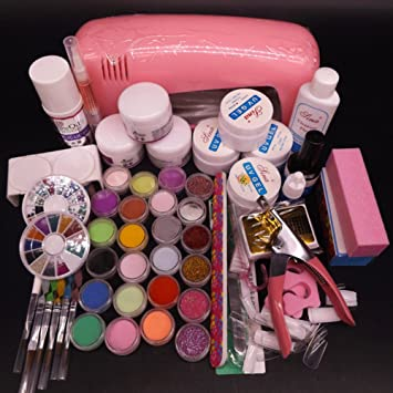 Amazon Warm Girl Full Uv Nail Acrylic Nail Art Kits 9w Pink Uv