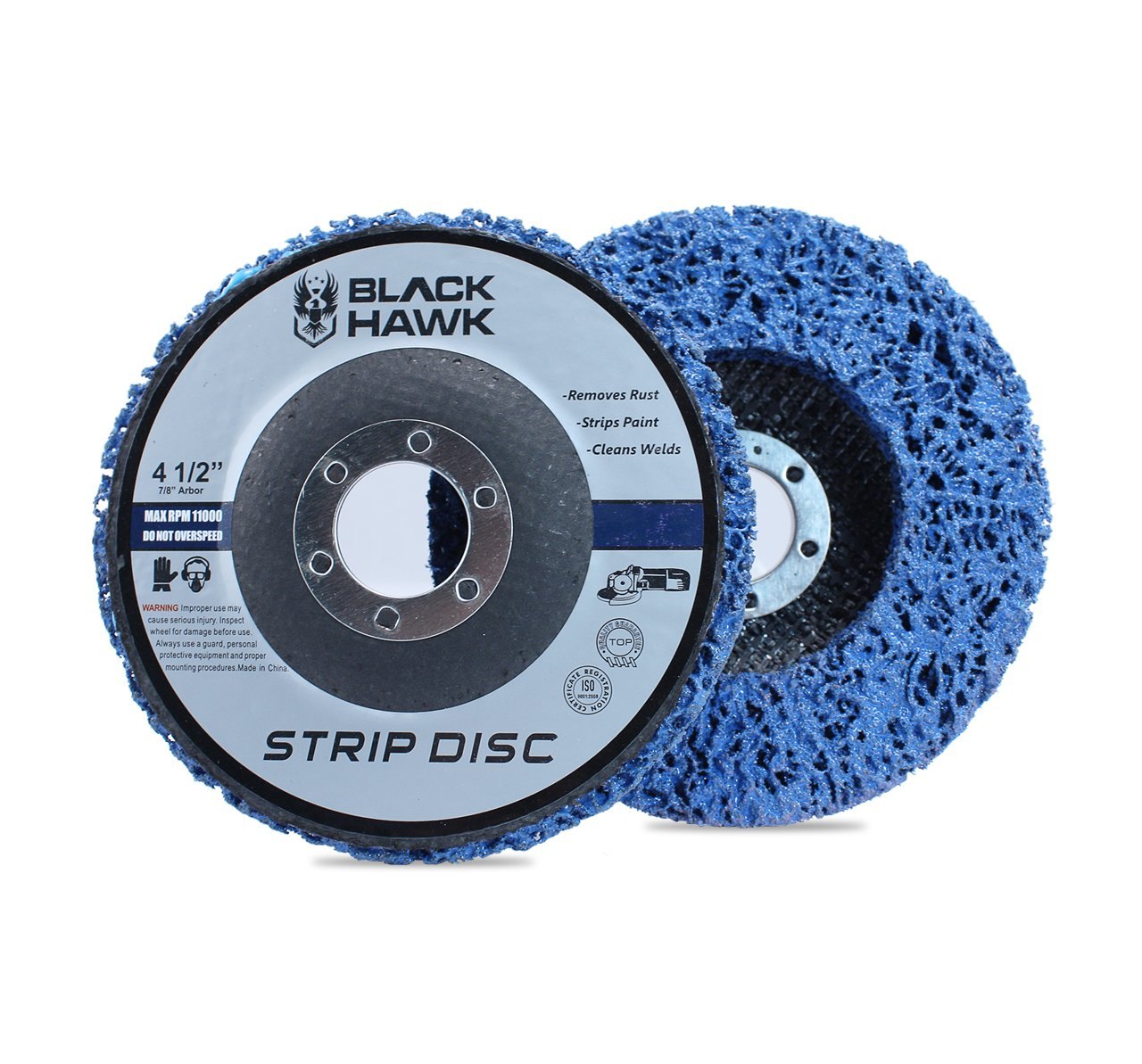 "5 Pack - 4-1/2"" x 7/8"" Black Hawk Easy Strip Discs Clean & Remove Paint, Rust and Oxidation 71uNPZU2BFTL"