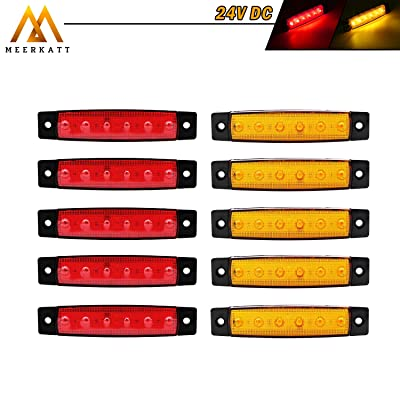 Meerkatt (Pack of 10) 3.8 Inch Truck Lorry Bus Boat RV Trailer Jeep ATV 5 Amber 5 Red Clearance Rear Side Cab Marker Indicator Light Lamp 6 LED Waterproof Mini Decoration Brake Fender stop Tail 24V DC: Automotive