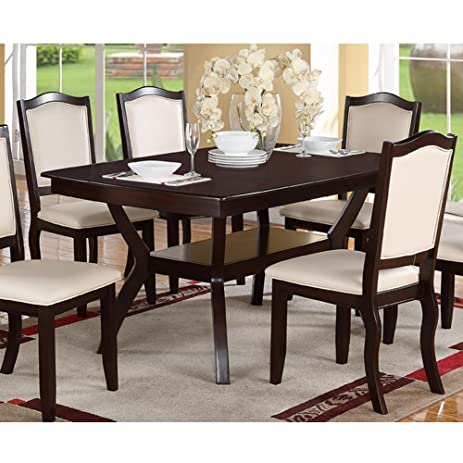 Amazon.com - Modern Rectangular Wood 7 PC Dining Table and Chairs ...