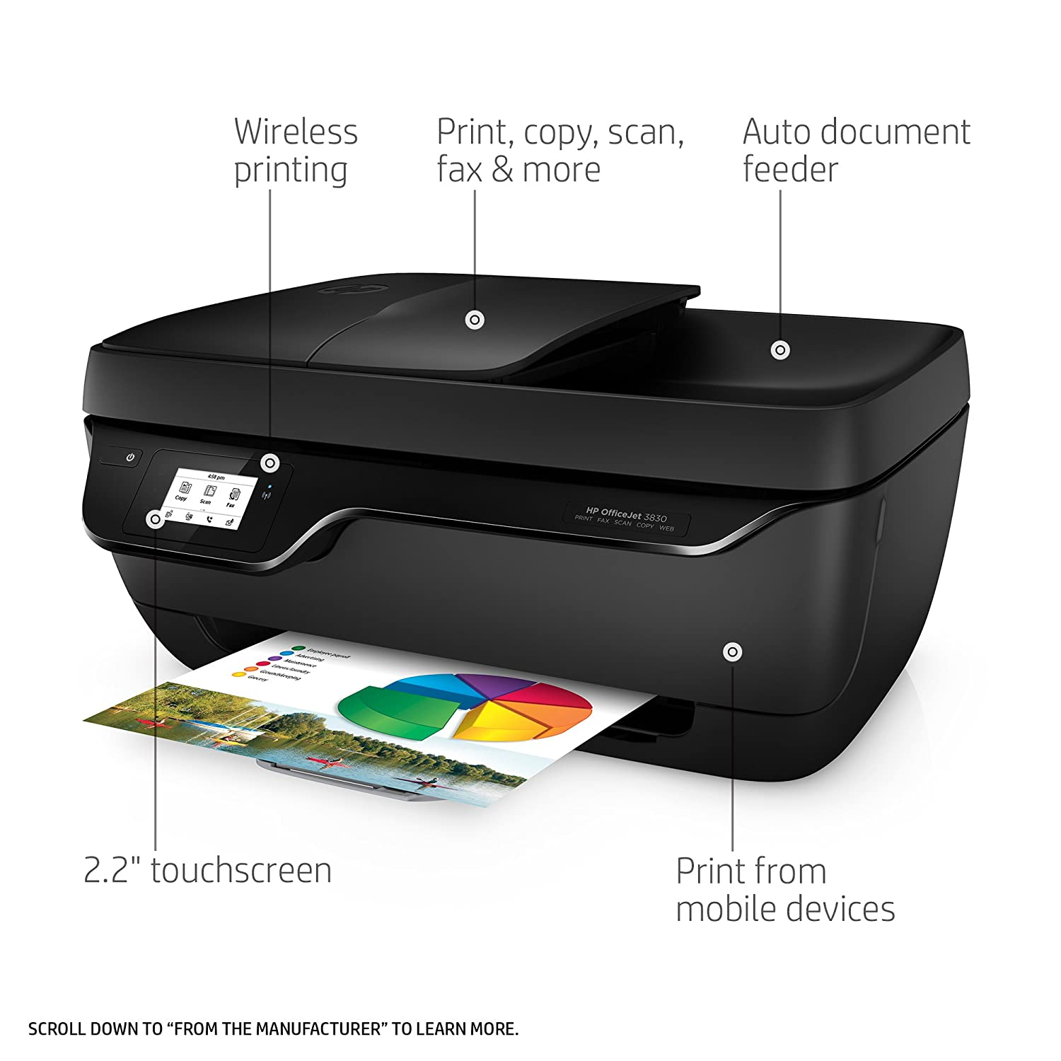 amazon com hp officejet 3830 wireless all in one photo printer