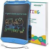 """Bunte LCD Schreibtafel NEWYES 8,5 """" hellere Schrift mit Anti-Clearance Funktion und Dicke Linien,Magnete,String,Stift papierlos für Schreiben Malen Notizen Super als Geschenke (Blau+bunt)"""