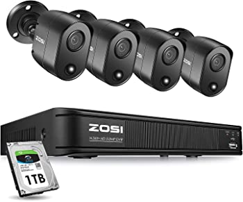 Zosi 4 Channel Security Camera System With 1TB Hard Drive