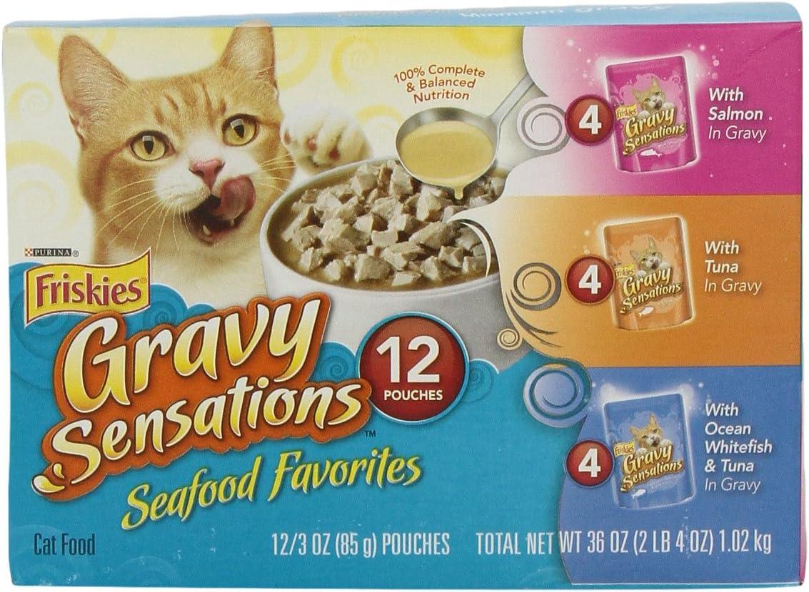 Purina Friskies Gravy Sensations Seafood Favorites Wet Cat Food Variety Pack - (12) 3 Oz. Pouches
