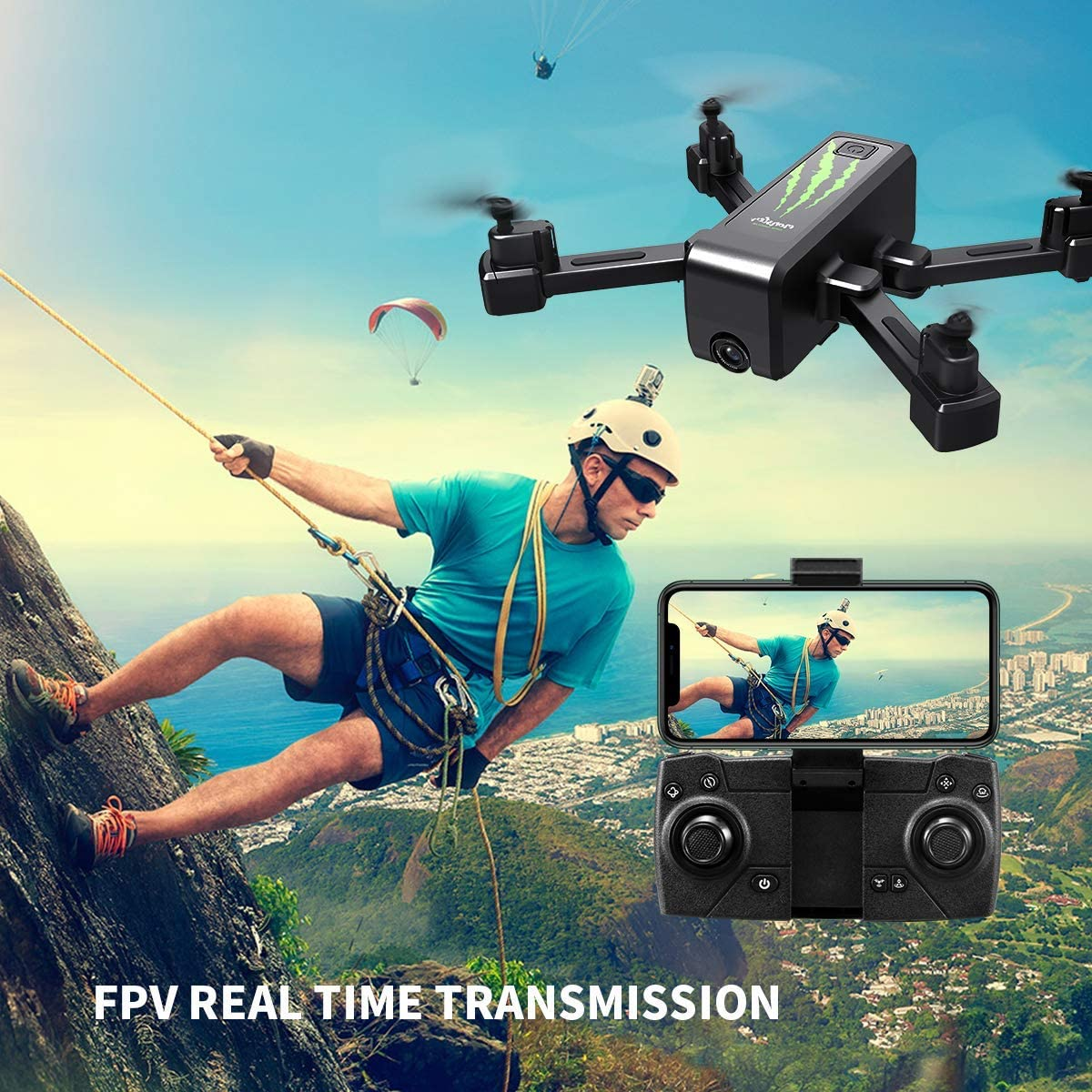 HR H5 GPS Drone with Camer,1080p HD Camera,Foldable Portable Quadcopter with Auto Return Home,Custom Flight Path,Follow Me,Drone for Beginners