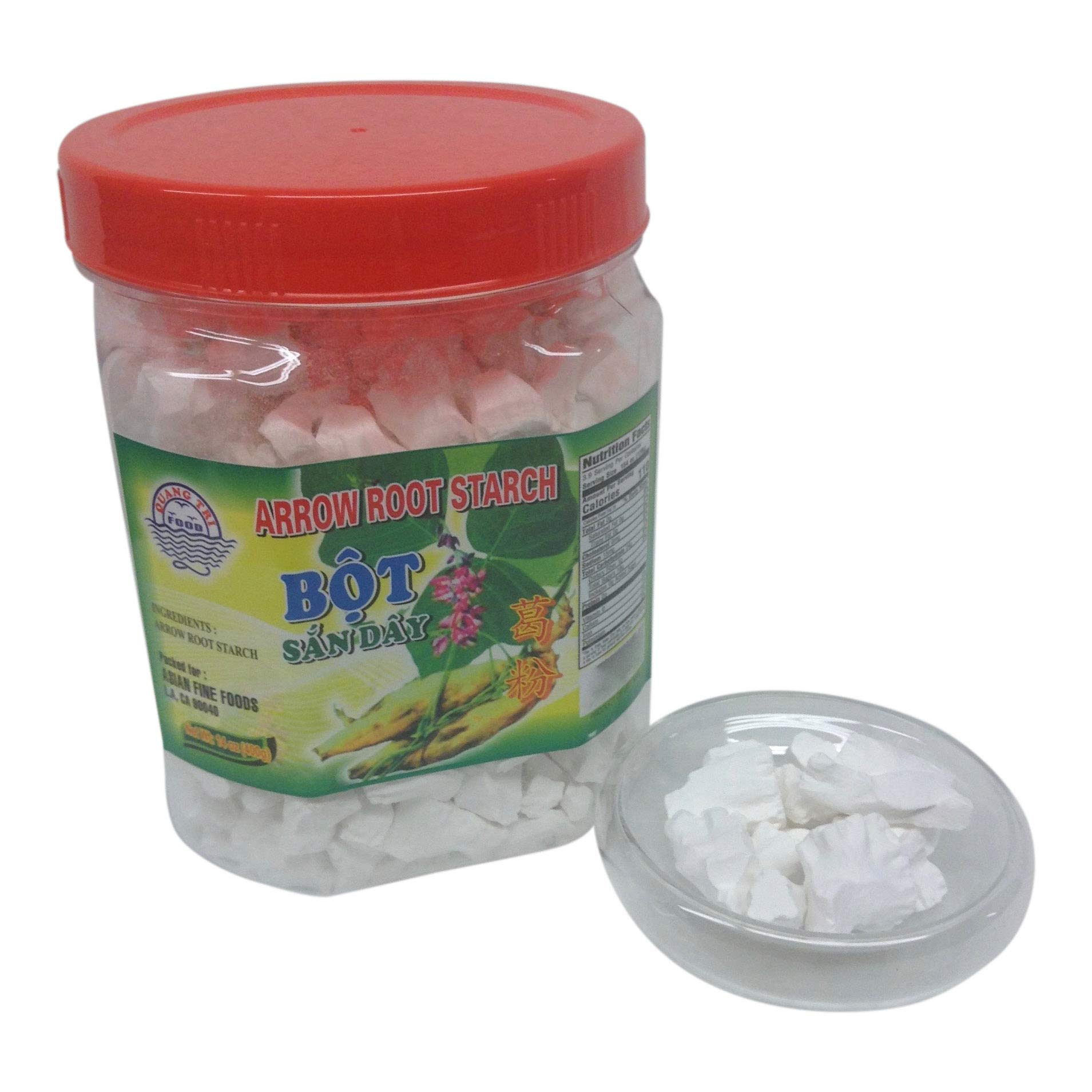 Arrowroot Bot San Day Asian Thickener. Snack Sized Chunks of Crunchy Arrow Root Starch, 14 oz Jar.