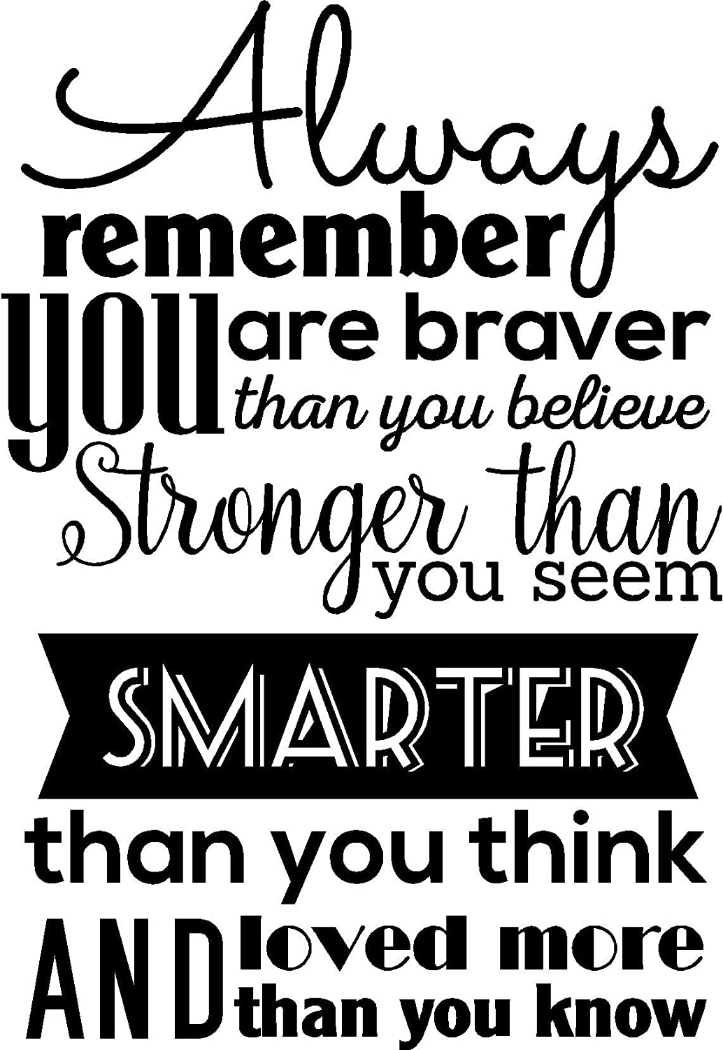 Home Wall Decal Decor - Always Remember You are Braver Than You Believe - Vinyl Wall Decals Sayings Words Art Decor Lettering Wall Art Inspirational Uplifting