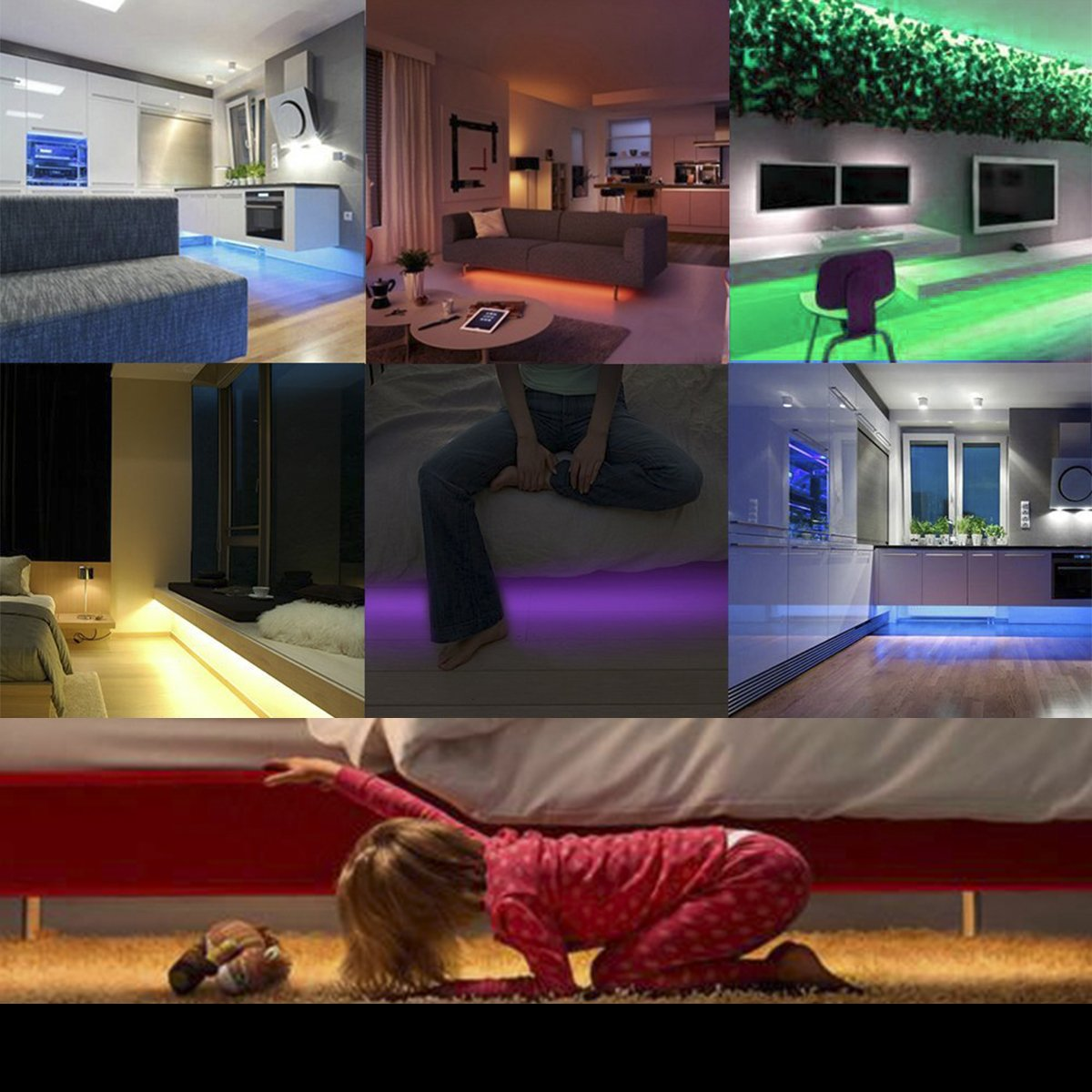 LEHOU Under Bed Light Motion Activated Illumination RGB Color Include Warm Color Automatic Staircase Lighting LED Strip Sensor Night Light Bathroom,Wardrobe,Kitchen - 1.5m/4.9ft x 2 by LEHOU (Image #6)