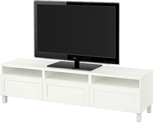 Ikea Besta Banc Tv Avec Tiroirs Hanviken Blanc Amazon Fr