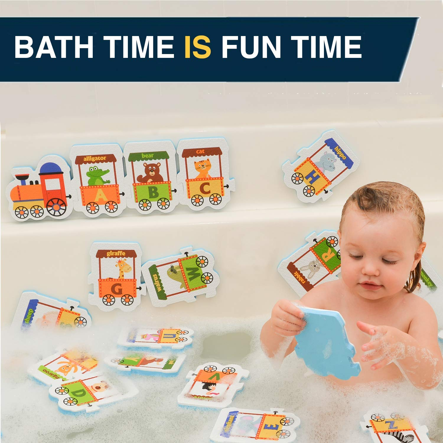 Non Toxic Foam Bathtub Letters and Animals Set ToyPal Foam Bath Toys Educational Bath Toys for Toddlers 3 4 Year Old Boys and Girls