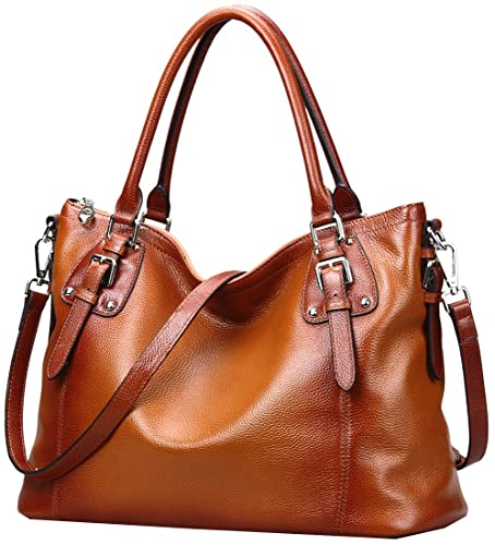 Heshe Womens Leather Vintage Handbags Shoulder Handbag Tote Top Handle Bag