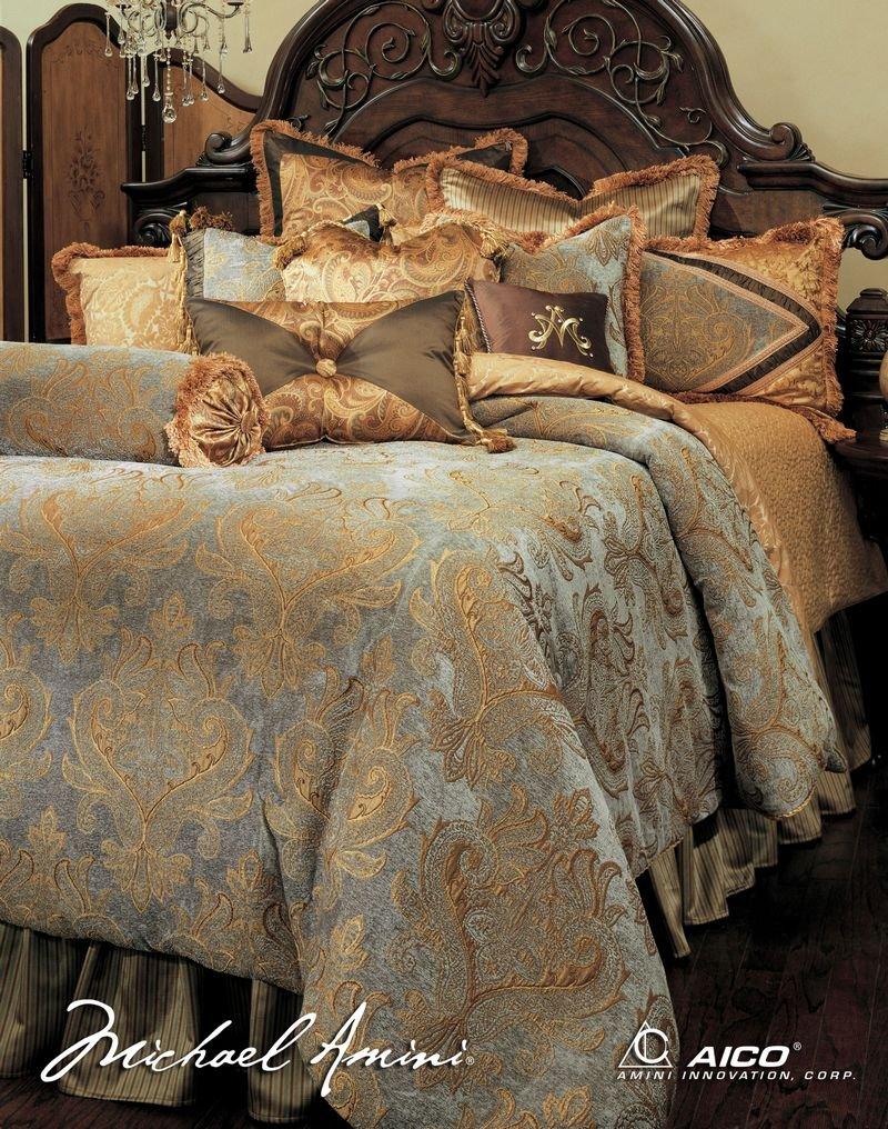 amazoncom michael amini elizabeth 13 piece comforter king aqua home u0026 kitchen