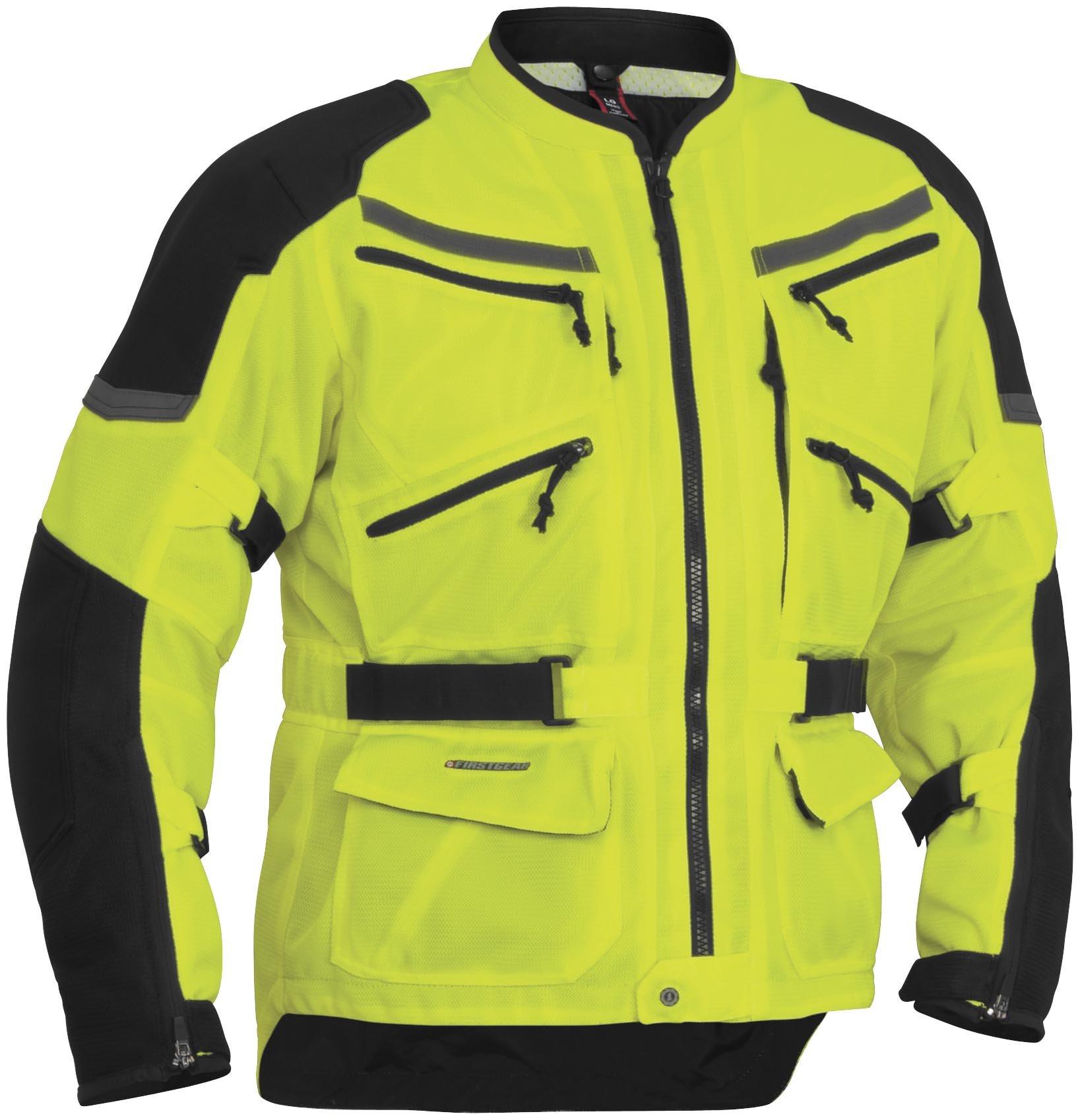 Firstgear Adventure Mesh DayGlo Yellow/Black Jacket, 2XL