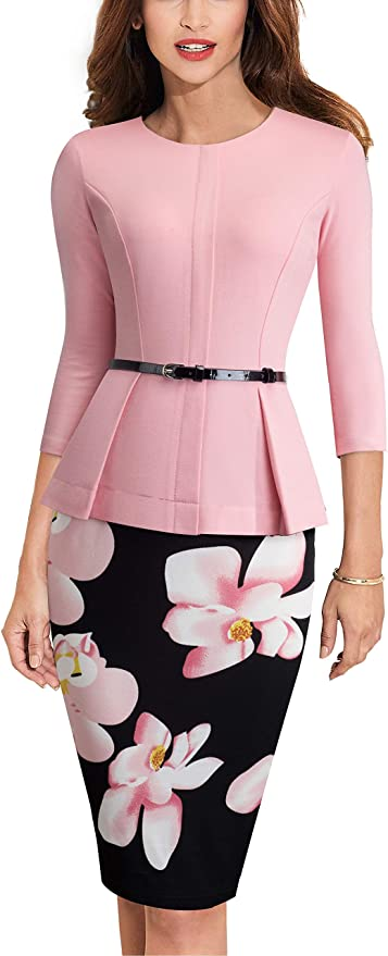 HOMEYEE Negocio Vestido de Mujer Cuello Redondo Peplo Cinturón B473 (EU 44 = Size XXL, Rosa Claro)