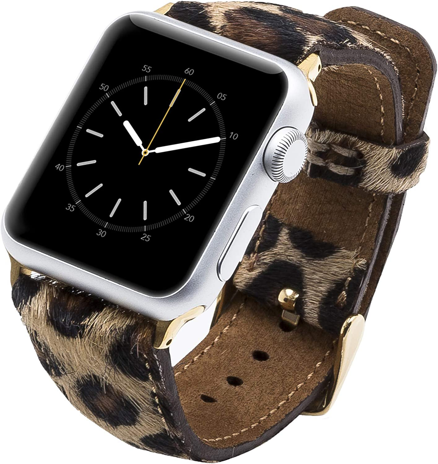 Venito Tuscany Leather Watch Band Compatible with Apple Watch 42mm 44mm - Watch Strap Designed for iwatch Series 1 2 3 4 5 6 (Furry Leopard w/Gold Connector & Clasp)