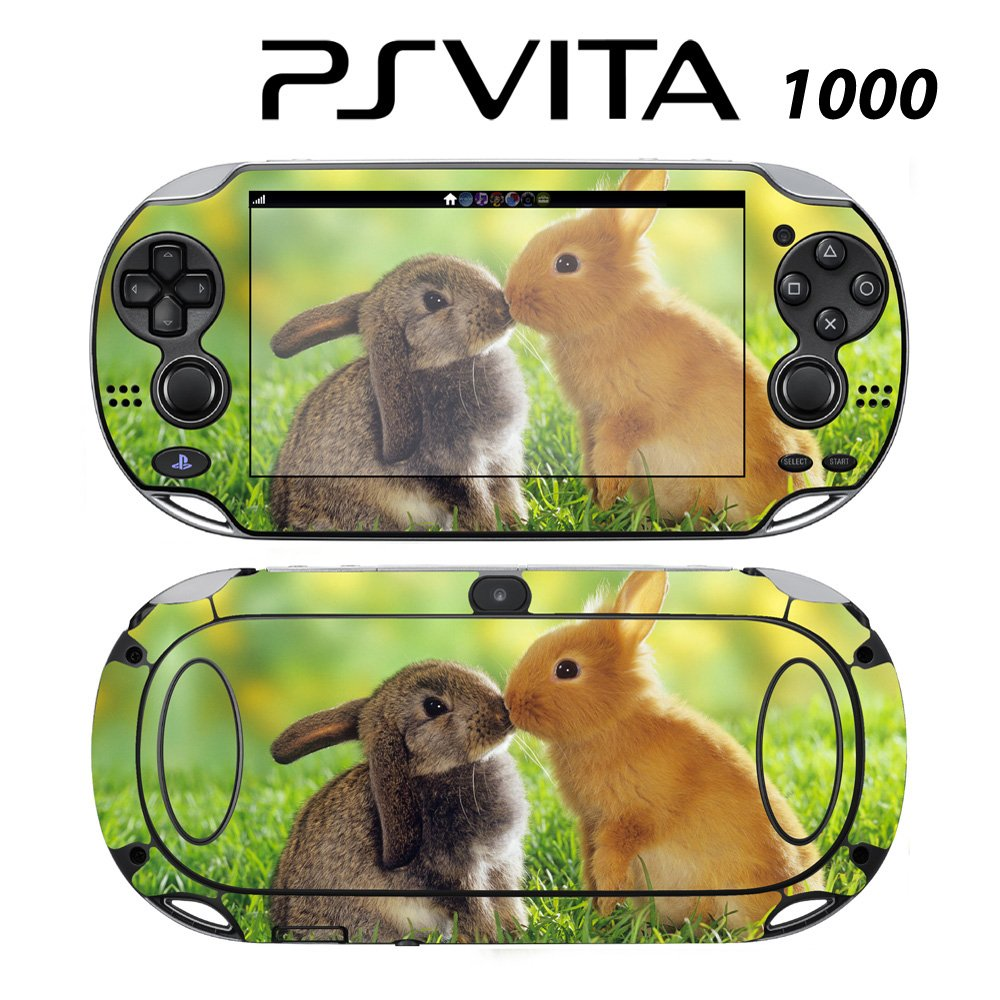 Decorative Video Game Skin Decal Cover Sticker for Sony PlayStation PS Vita (PCH-1000) - Sweet Rabbits Bunny Kisses