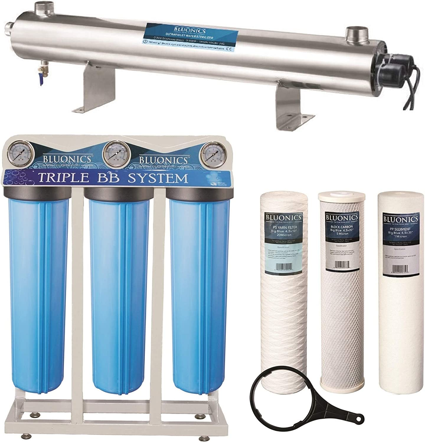 """Bluonics 110W UV Ultraviolet Light + Sediment & Carbon Well Water Filter Purifier System with NPT 1"""" Ports > 24 GPM UV Sterilizer with Triple Big Blue Size 4.5"""" x 20"""" Filters"""
