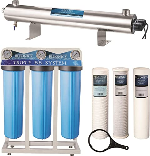 Bluonics 110W UV Ultraviolet Light Sediment Carbon Well Water Filter Purifier System with NPT 1 Ports 24 GPM UV Sterilizer with 3 Big Blue Size 4.5 x 20 Filters