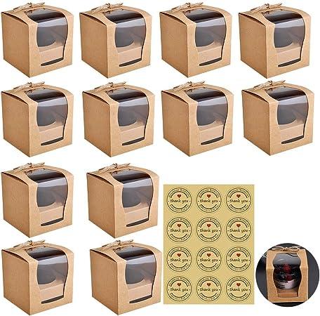 12 piezas Cajas de papel Kraft para panadería con ventanas de PVC para tartas de panadería y pastelería, contenedor desechable para llevar con etiqueta engomada y guita: Amazon.es: Hogar