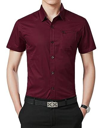 Kinlonsair Men S Regular Fit Short Sleeve Dress Shirts At Amazon