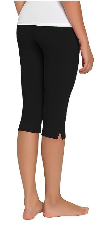 Damen Caprihose Jogginghose ideale Fitnesshose und Freizeithose von Gwinner,  Model Gabi, 3/4 lang schwarz-S: Amazon.de: Sport & Freizeit