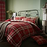 Catherine Lansfield Cotton Blend Tartan Check Quilt Duvet Cover Bedding Set & Pillowcases Kelso Red UK King