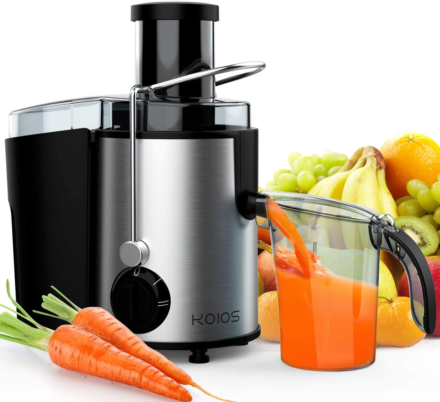 KOIOS Centrifugal Juicer, Juicer Machines for Fruits &Vegetables, Centrifugal Juice Extractor Easy Clean with Wide Mouth Feed Chute, 304 Stainless Steel Filter, BPA Free, Powerful&800W, Brush Included