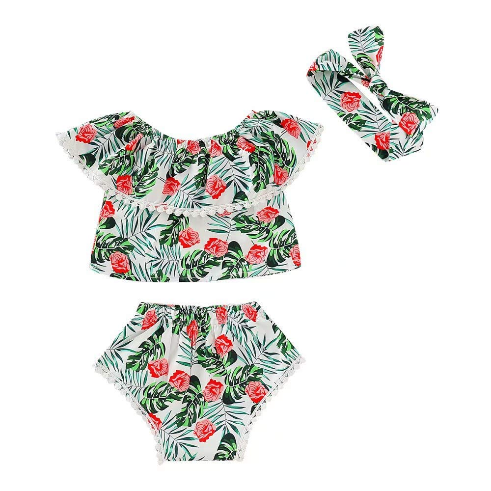 Bloomers Shorts Headband Clothing Sendewoner 0-24M Baby Girls Tropical Style Outfits Off-Shoulder Top with Tassels