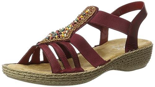 Rieker Damen 65841 Offene Sandalen mit Keilabsatz