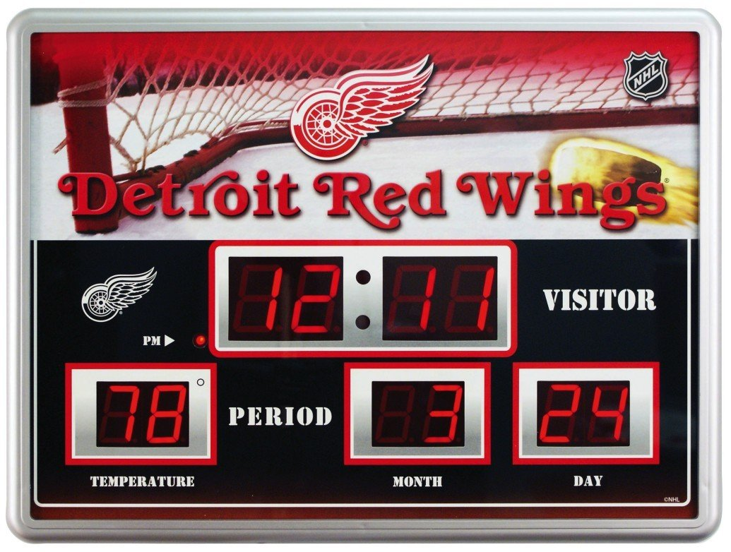 Team Sports America Detroit Red Wings Scoreboard Style Clock & Thermometer