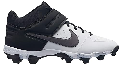 Nike Mens Alpha Huarache Varsity Keystone Mid Baseball Cleats (7, White/Grey)