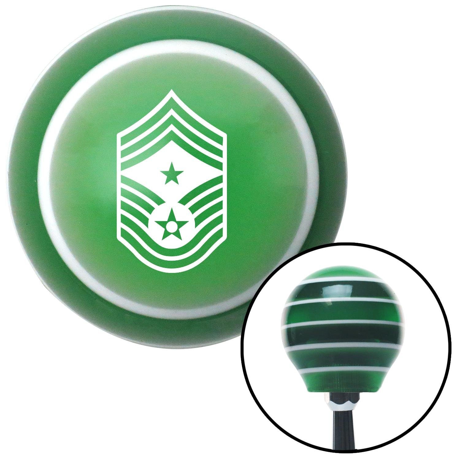 American Shifter 124551 Green Stripe Shift Knob with M16 x 1.5 Insert White Command Chief Master Sergeant