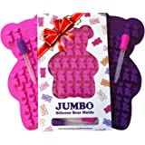 """NEW UNIQUE Extra Large Candy Gummy Bear Mold - 2 Big Molds + 2 BONUS Droppers - BPA Free FDA Approved Silicone - Make Bigger 1.2"""" Incredibly Detailed HEALTHY Gelatin Gummie Bears No Kid Could Resist"""