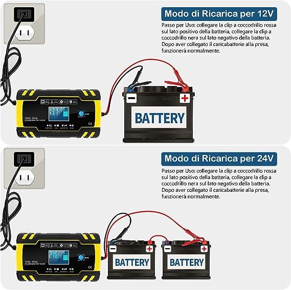 12V 24V Carica Batteria Intelligente Automatico Manutentore la Batteria per Auto Moto LVYE1 MRMF Caricabatterie Auto Moto Caricabatter per Caricare Batterie al Piombo-Acido e Batterie al Litio