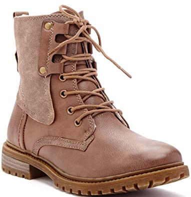 Calista Womens Fashion Faux Shearling Mid Shaft Combat Boots