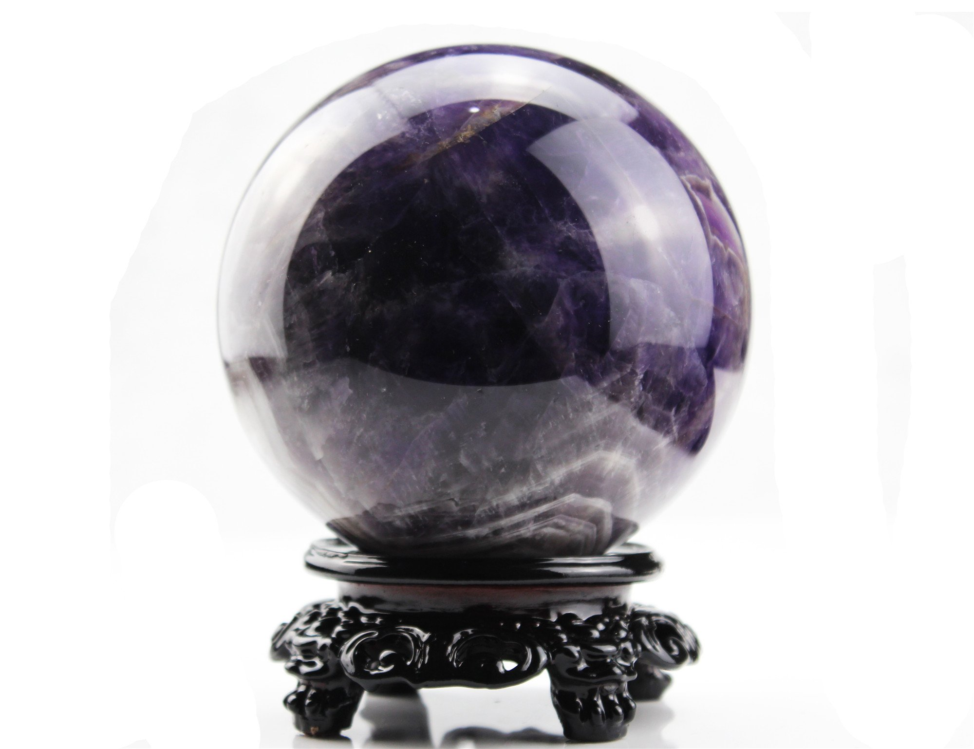 DeYue 4.3inch Natural Amethyst Dream Magic Crystal Ball Sphere with stand foundation For Fengshui, Meditation, Crystal Healing, Divination, Home Decoration