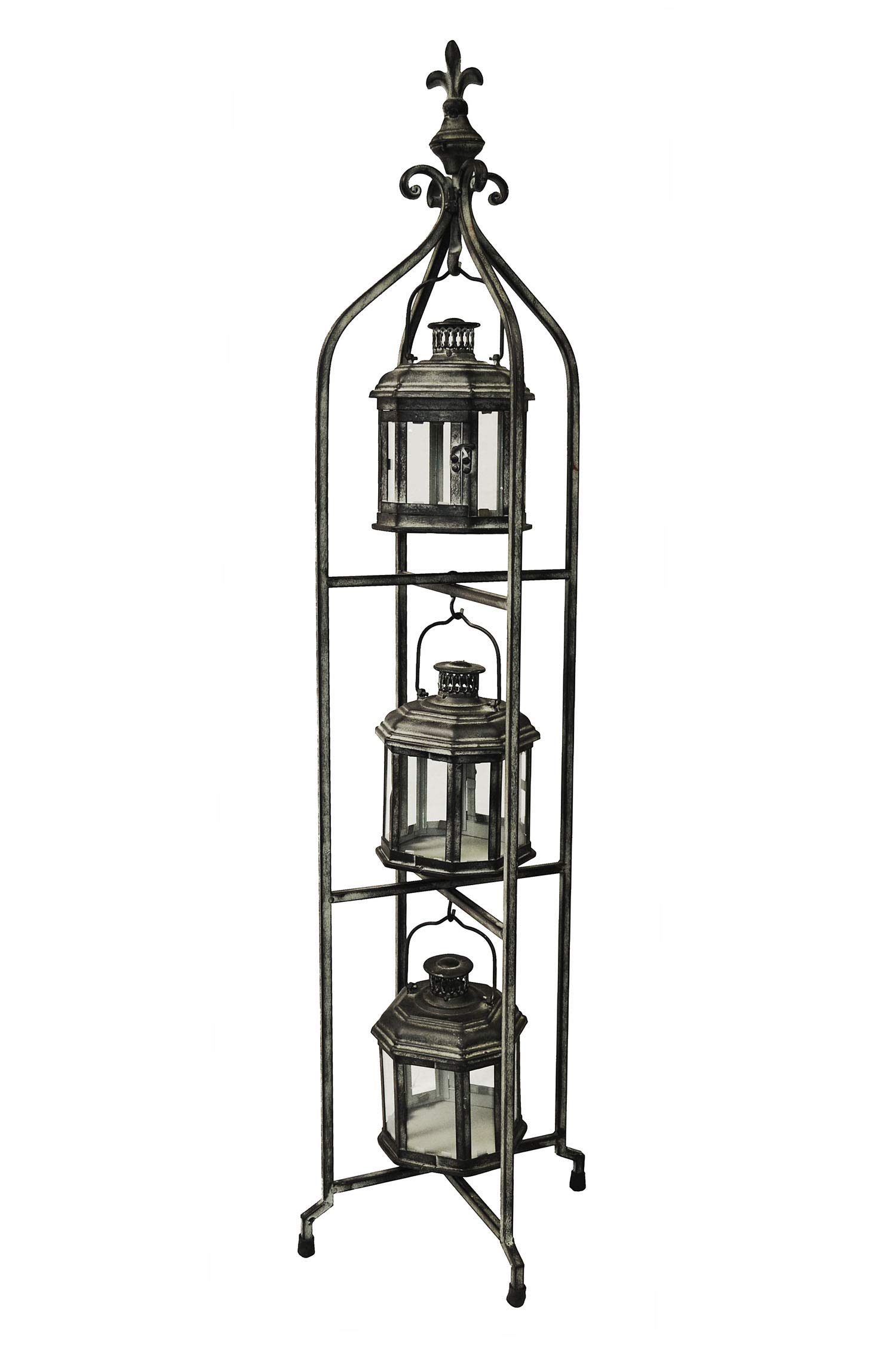 PierSurplus Metal Candle Lanterns with Stand - Three-Tier Lantern Stand for Yard Product SKU: CL221880 by PierSurplus (Image #4)