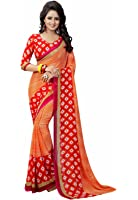 Ishin Women's Faux Georgette Saree With Blouse Piece (Swaya-Squarered_Orange)