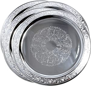 "Maro Megastore (Pack of 4) 13"" Traditional Round Floral Pattern Engraved Catering Chrome Plated Serving Tray Mirror Deco Plate Platter Tableware Holiday Wedding Buffet Serving (Medium) T471-13-4PK"