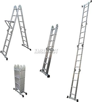 KMS FoxHunter 4,7 m 14-in-1 plegable multifunción escalera andamio de trabajo multifunción con 2 hondos y 1 bandeja para herramientas: Amazon.es: Bricolaje y herramientas