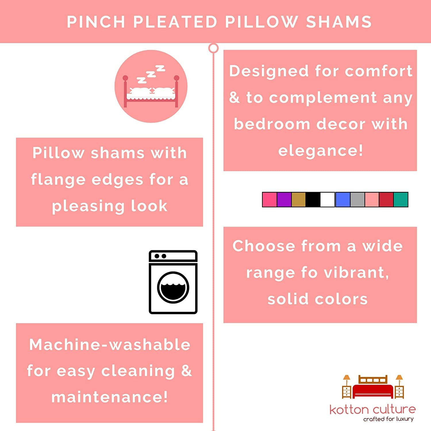Standard Size 20X26 Inches , Taupe Kotton Culture Set of 2 Pillow Shams Pinch Pleated 100/% Egyptian Cotton 600 Thread Count Super Soft Decorative Hotel Class Bedding