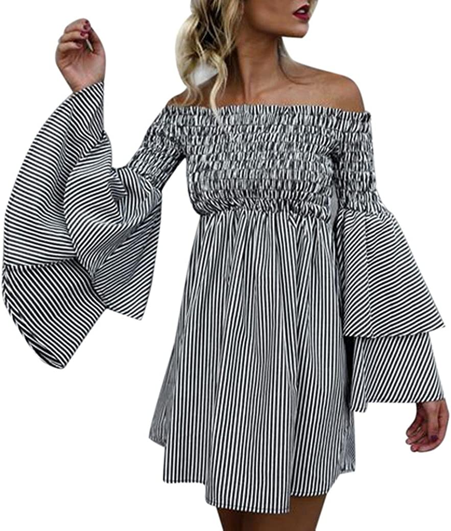 LONUPAZZ Off Shoulder Rayure Robe Femme Ete Volant Manche Longue Casual Boho Mini Robe /épaule Nue