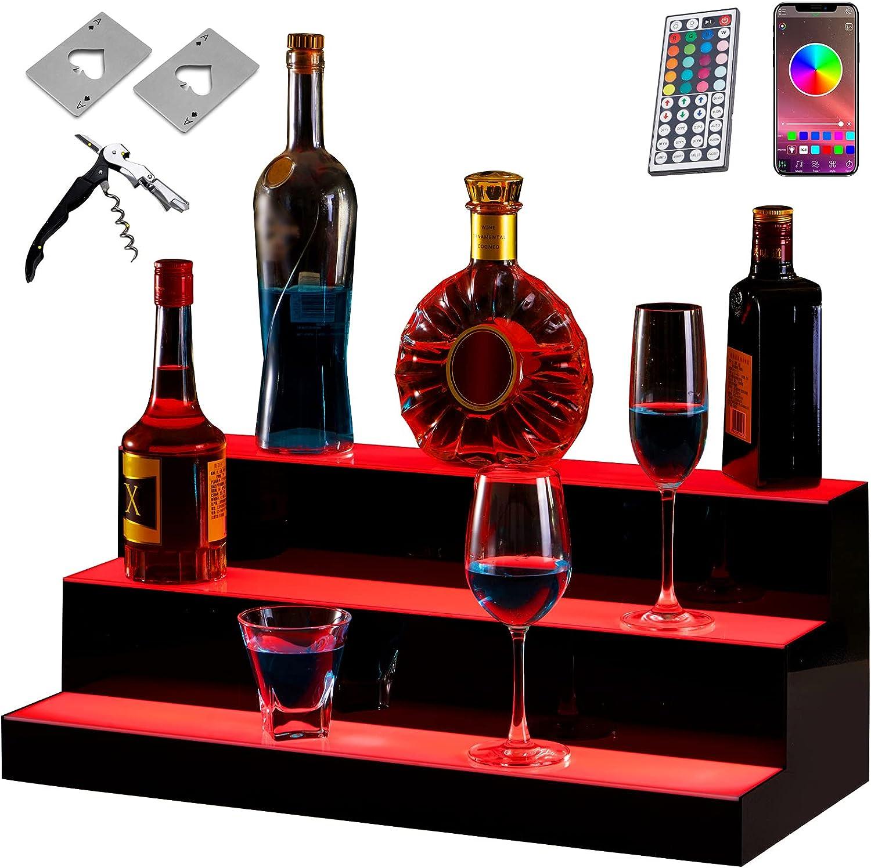 BotaBay 24 Inch LED Lighted Liquor Bottle Display Shelf 3 Step W/BluetoothControl &Remote Control Illuminated Bottle Shelf 3Tier Home Bar Drinks Lighting Shelves W/Corkscrew