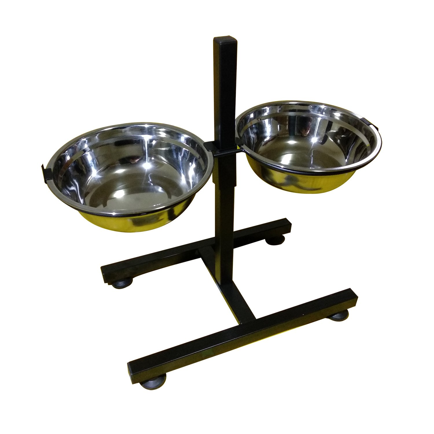 BobbyPet Adjustable Raised Double Stainless Steel Dog Diner Bowls. H-Style Height Elevated Standing with 2.2QT Dual Dog Dish by BobbyPet