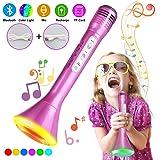 Micrófono Karaoke Bluetooth, Tencoz Micrófono inalámbrico de karaoke Micrófono portátil para niño Micrófono de karaoke para la música altavoz Equipo para cantar para Teléfono(Rosa)