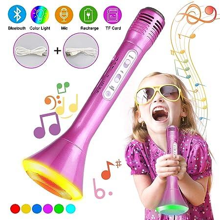Bluetooth Karaoke Mikrofon, Tencoz Portable Drahtlose Handmikrofon Lautsprecher Player Kabellos Mikrofon mit Lautsprecher,Mik