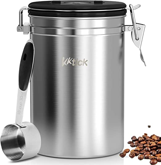 KKTICK Coffee Canister, Airtight Coffee Container with Scoop, CO2 Vent Valve and Date Tracker Wheel, Stainless Steel Storage Vault for Whole/Ground Coffee Bean, Keeps Your Coffee Fresh - Large 64floz
