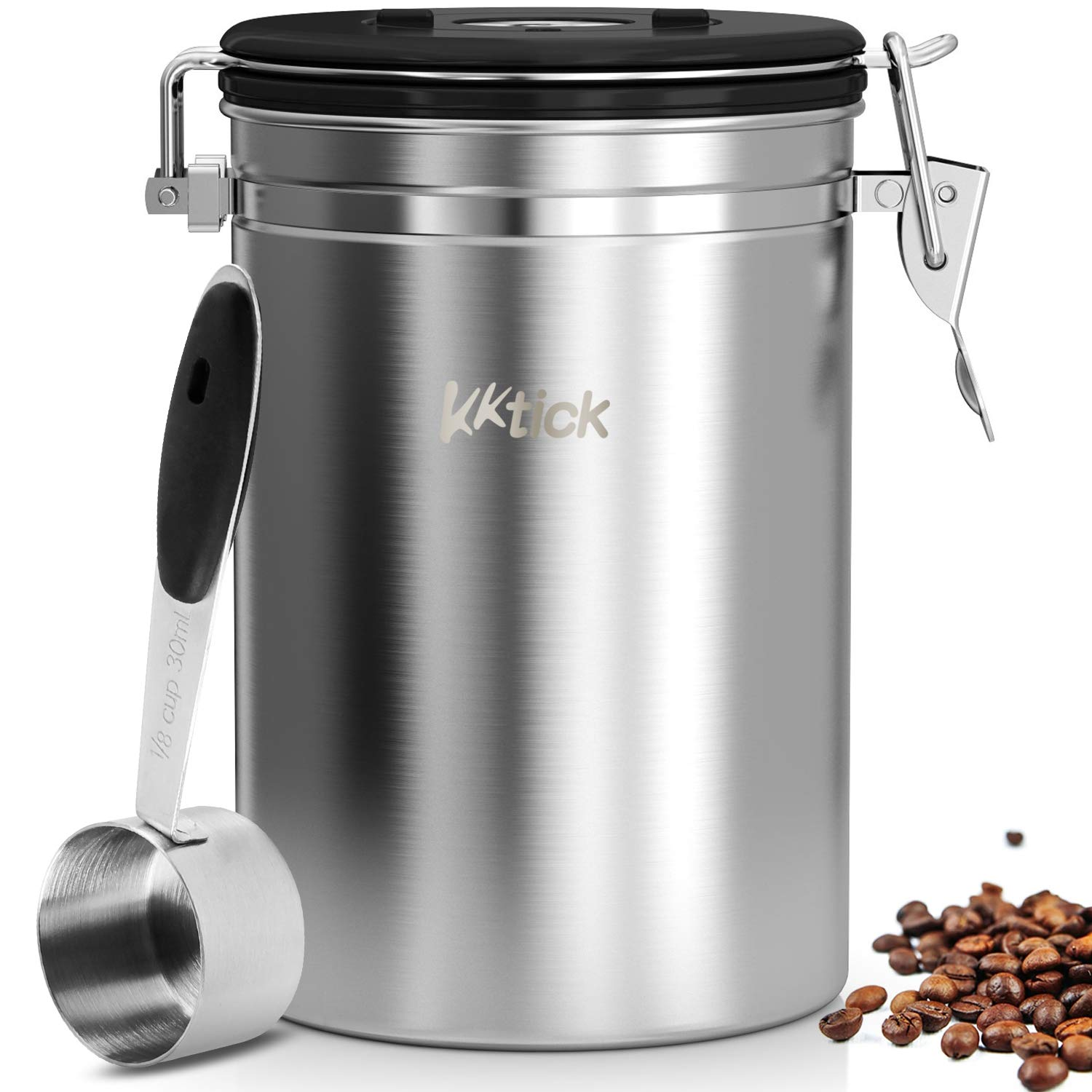 Airtight Coffee Canister, KKTICK Stainless Steel Coffee Container with Scoop, CO2 Vent Valve and Date Tracker Wheel, Storage Vault for Whole/Ground Coffee Bean, Keeps Your Coffee Fresh - Large