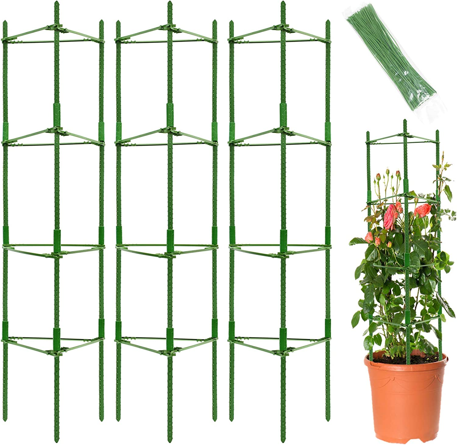 Halatool 5.4ft 3-Pack Tomato Cage for Garden Plant Support- Multifunctional Adjustable Plant Stakes with 100pcs Plant Twist Tie for Vertical Climbing Plants, Vine, Flowers, Vegetables (Green)
